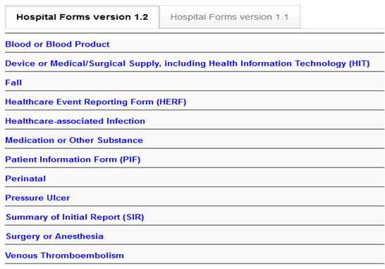 Common Formats Portal Home Page Forms